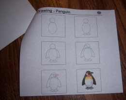 The back page had a How to Draw a Penguin for the kids to do.