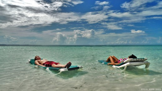 lounging in cococay. A beautiful blue beach that is truly a paradise.