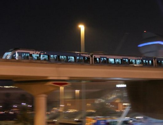 Dubai metro train at night