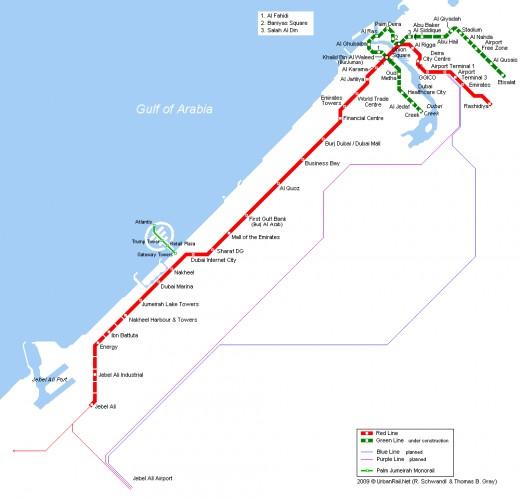 Dubai Metro Railway Map