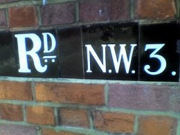 feature - tile bricks, with street name