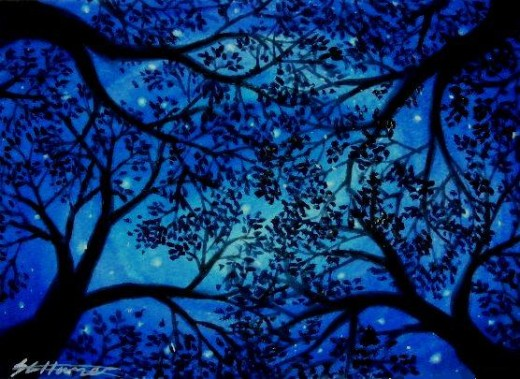 My painting 'Staring Upwards' inspired by the view through the trees in the New Forest at night.