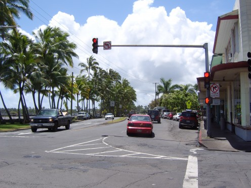This calm and peaceful downtown was once totally destroyed by the forces of huge tidal waves that came on shore in this area. Tidal waves caused destruction and loss of life not once but twice in Hilo, Hawaii.