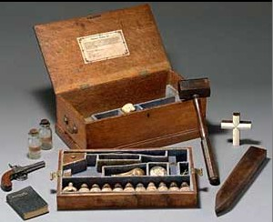 A Vampire Hunting And Killing Kit sold at the turn of the century. This was a very popular item sold in all of Europe.