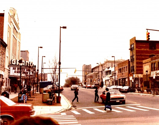 A neighborhood shopping area in Baltimore in early 1980s