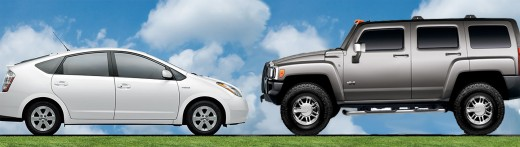The Prius versus the Hummer.  (Photo: PacInst.org)