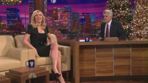 Kate Winslet on The Tonight Show with crossed legs and high heels