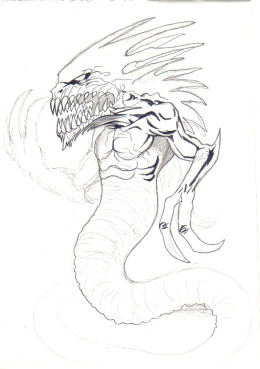 With this sketch it really was just a simple idea of a demon serpent creature, although I abandoned the drawing I went on to do some successful drawings of the same creature and modified the design, this is what drawing and sketching is all about, wo