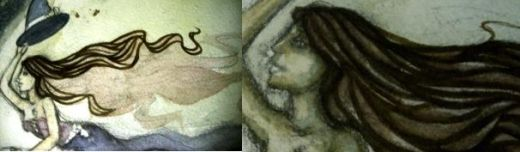 [LEFT]Outlining segments of hair. [RIGHT]Finding your source of shadow and shading it in. It really makes it pop.