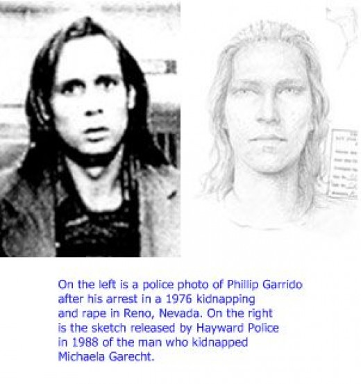 This picture of Phillip Garrido was taken around the time of Michaela Garechts kidnapping. The picture on the right is the suspect picture that was circulated widely after Michaela's kidnapping. Eerily similar, aren't they?