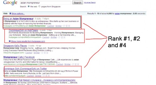 The hubpage  Being An Asian Mompreneur Ranking #1 within 1 month of the hubpage being published