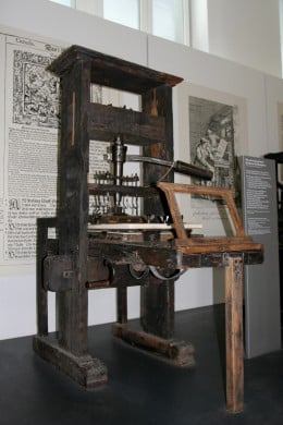 An original type of printing press, where some important documents were published to a wider audience.