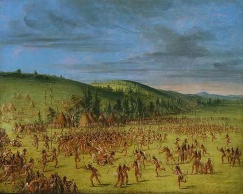George Caitlin painting of native lacrosse game. The man Green Cloud & Ho-Chunk Nation played from 100 to 1000 men at a time.