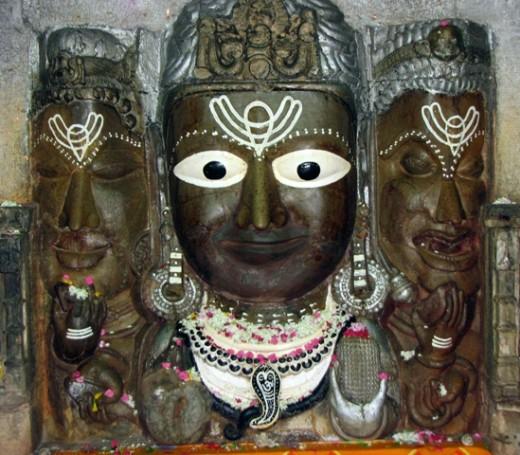 Three faces of Lord Shiva.Chittorgarh.
