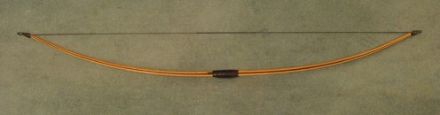 This bow has been strung. Do not store wooden bows in this status or hang them on the wall by the string, because it will destroy the power of the wood.