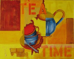 "Author first drew the cup and teapot before abstracting them for the painting (""Tea Time"")."