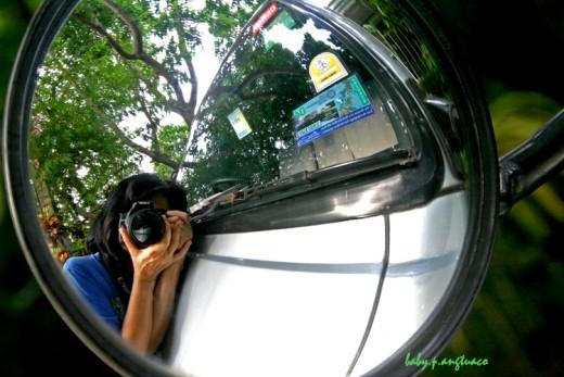 Reflection on a car mirror