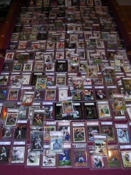 Football and Baseball trading cards collection.