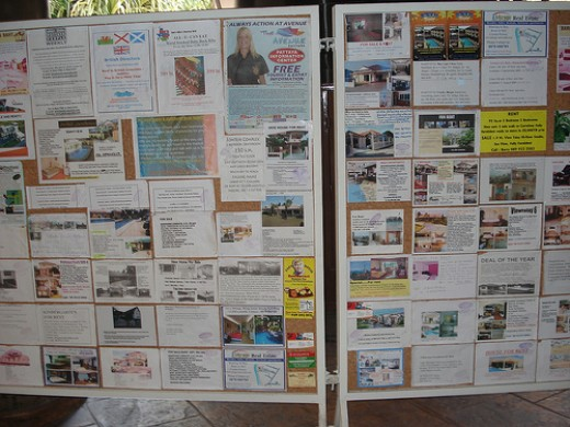 Notice board listing apartments to rent...negotiable