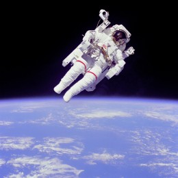 Astronaut on the first untethered space walk from the space shuttle.
