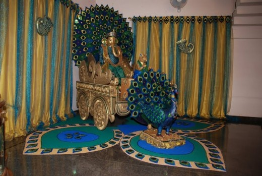 Ganesha,Fully handmade by Mrs. Usha Rajashekhar, and set up at her own residence