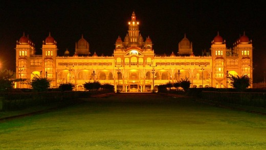 Grand sight of Mysore palace-illuminated during Dasara festival