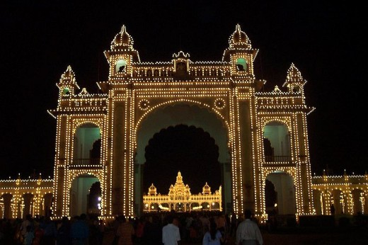 Main enterence of Mysore palace- with palace seen at ther rear