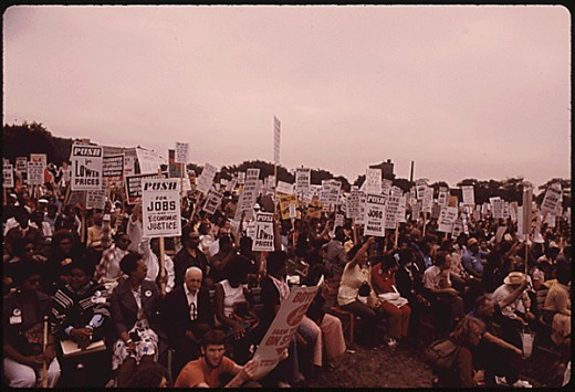 Elder citizens protest inflation, unemployment, and high taxes.