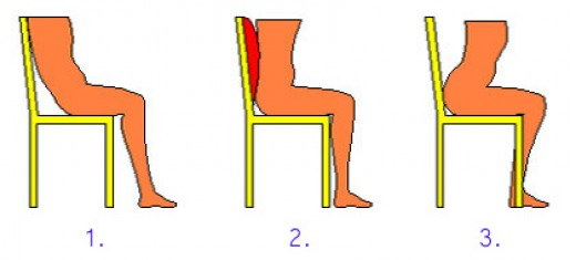 Use back support to stay upright.