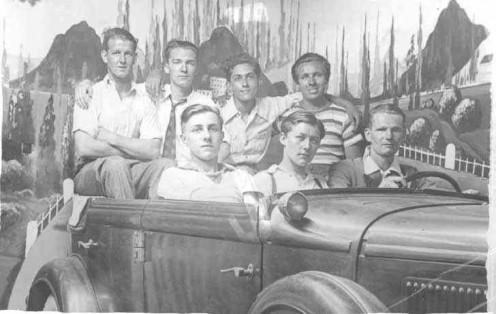 At the 1st Worldcon, fans took visited Coney Island, where this this shot included-- Front: Mark Reinsberg, Jack Agnew, Ross Rocklynne Top: V. Kidwell, Robert A. Madle, Erle Korshak, Ray Bradbury (public domain)