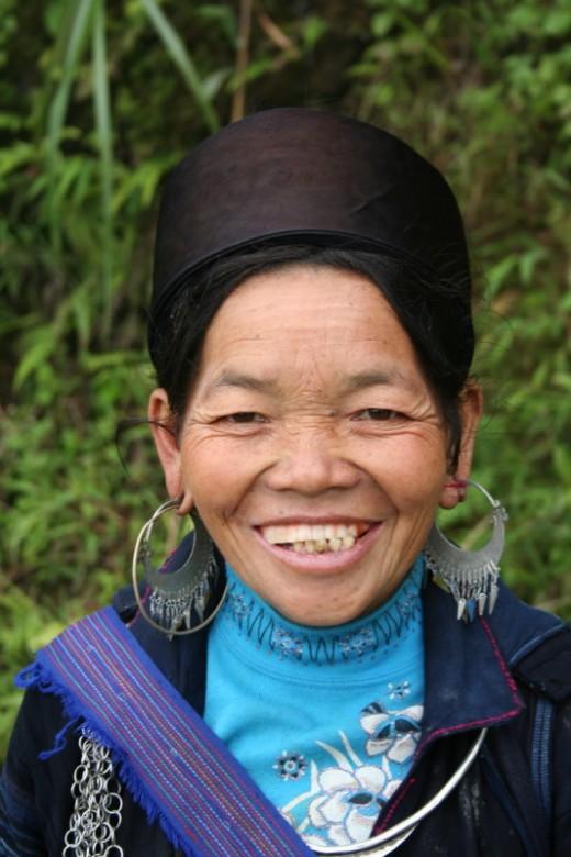 Sapa village lady.  Beautiful silver jewelry.