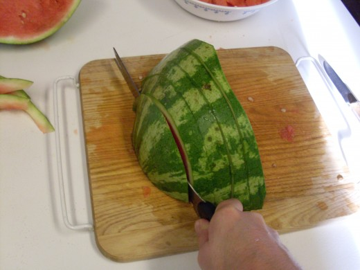 """Then slice it into slices between 1/2"""" and 1"""" wide."""
