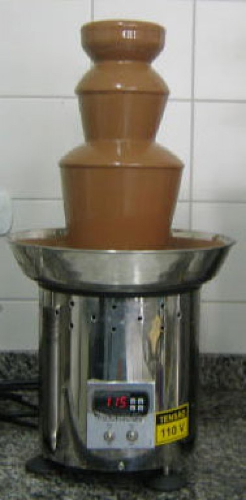 A chocolate fountain or cascade (photos this page public domain)