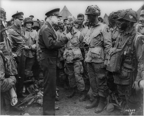 Giving D-Day orders, 1944.