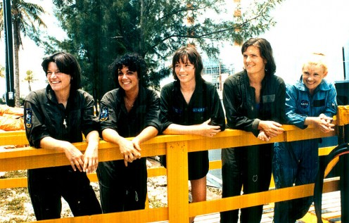 Left to right are Sally K. Ride, Judith A. Resnik, Anna L. Fisher, Kathryn D. Sullivan and Rhea Seddon; 1978.