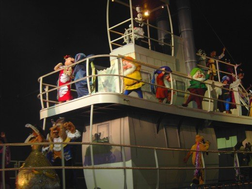 Various Disney Characters ride aboard Steamboat Willie in Fantasmic! at Disney's Hollywood Studios. (photo by talfonso)