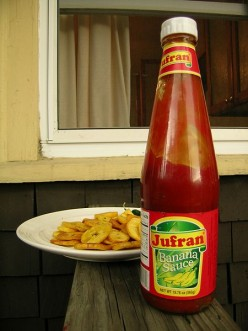 Fried plantains and ketchup.