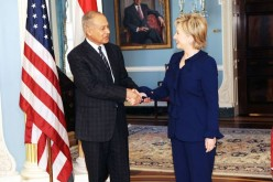 Secretary Clinton and Egyptian Foreign Minister Ahmed Ali Aboul Gheit on Feb 12, 2009 at the US State Department.