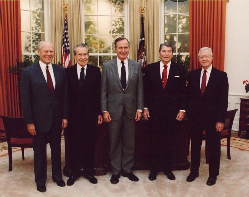 Presidents Gerald Ford, Richard Nixon, George Herbert Walker Bush, Ronald Reagan and Jimmy Carter at the dedication of the Reagan Presidential Library