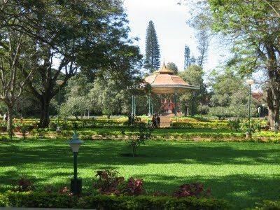 A part of Famous Lal-Bagh garden in Bangalore with band stand viewed from distance