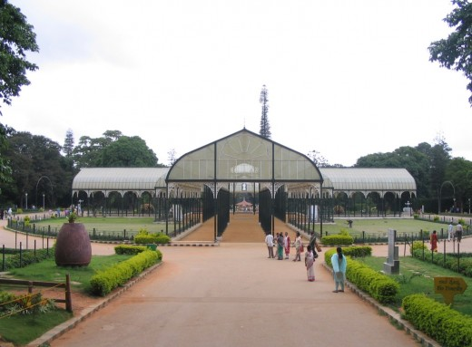 Glass-house, in Lal-bagh garden, where some conventions, and annual flower showare conducted.This is 150 years old.