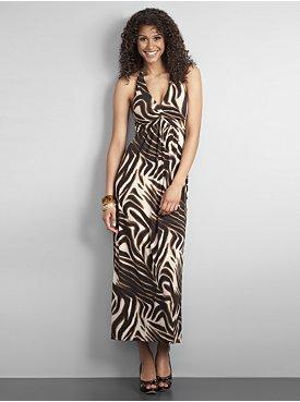 City Style Animal Print Halter Maxi Dress $17.97