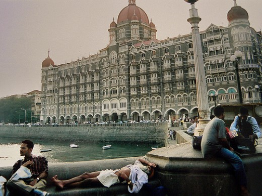 Famous Hotel Taj,standing agaist Arabian sea, near the gAteway of india. It is here the pak-sponsered terrorists killed many on 26/11