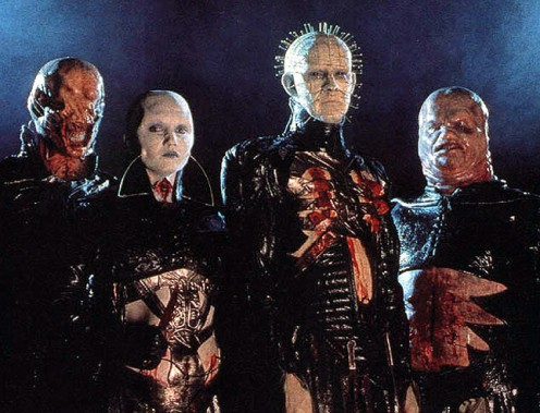 The Cenobites - (left-to-right) Chatterer, Female, Pinhead & Butterball
