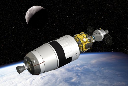 Artist concept of the Ares V earth departure stage in orbit, with the Orion capsule docked to the Altair lunar lander.
