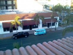 Birds eye view of the pool hall, from the building across the street.