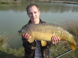 17lb Carp caught in February 2009 using curry sweetcorn.