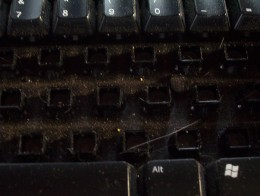 My keyboard---full of dust and the occasional cat hair. Yuck!