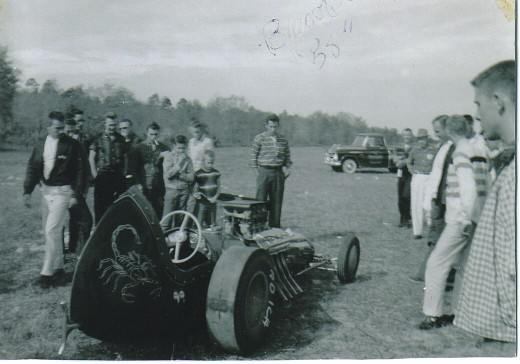 "Back view of Bobby Langley's ""The Scorpion"" drag car, circa 1958. This would have to be #2 or #3, since this car does not have the original needle nose design that he raced only in the 1956 NHRA Finals and then changed designs."