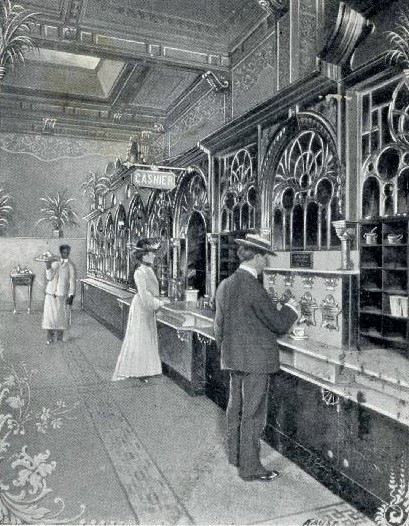 A very old automat in 1904, popular to about WWII, especially in New York City. It was a wall of vending cubicles. (public domain)
